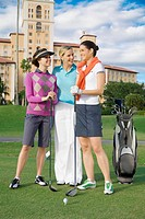 Three golfers standing in a golf course and smiling, Biltmore Golf Course, Biltmore Hotel, Coral Gables, Florida, USA