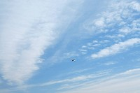 Airplane in the blue sky, copy space, Tokyo prefecture, Japan