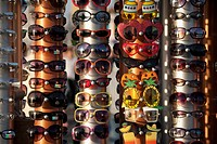 Sunglasses and eyeglasses at a market stall, Santa Monica, Los Angeles County, California, USA