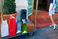 Woman entering in a hotel with luggage in a luggage cart, Biltmore Hotel, Coral Gables, Florida, USA