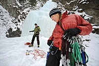 Two climbers prepare for ice climbing near Anchorage, Alaska