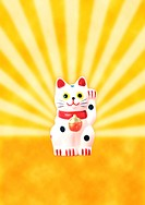 Maneki neko against a rising sun background