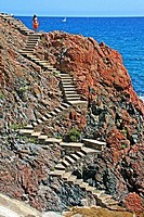 Stairs to go to the beach, Sagaro, Costa Brava, Catalonia, Spain