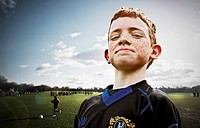 portrait of boy footballer
