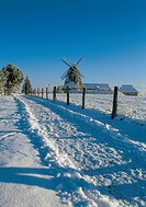 Windmill in snow, Mecklenburg, Germany
