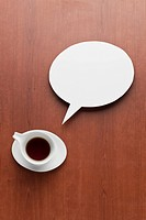 cup of coffee and speech bubble