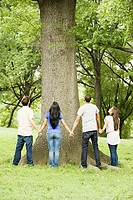 Young friends standing around a tree
