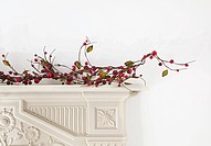 Branches with berries on mantlepiece