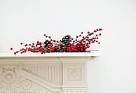 Festive display on mantlepiece