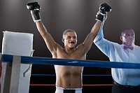Winning boxer and referee