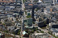 St. Katharinenkirche and Nikolaikirche, Hamburg, Germany, aerial view