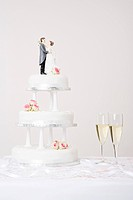 Wedding cake and champagne (thumbnail)
