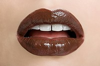 Female mouth with brown lipstick
