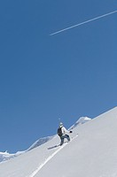 Skier in swiss alps, Switzerland, Berner Oberland, Jungfrau Region, computer_generated