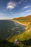 Rhossili Bay looking across to Burry Holms Gower Peninsula Wales