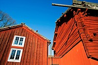 Traditional farmhouse building at Skansen outdoor museum in Stockholm Sweden 2009