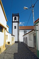 Street and church in the village of Maia  Sao Miguel island, Azores, Portugal