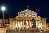 Monument of Max Joseph 1st in front of Nationaltheater in Munich at Night, Germany, Bavaria