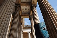 British Museum Portico. Special exhibition: Aztec Ruler.London, England, Great Britain, Europe