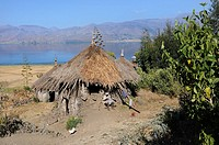 Thatched hut. Ashenge lake. Tigray. Ethiopia.