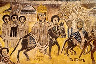 Ethiopia, Tigray, Gheralta cluster, Abreha Atsbeha church, Emperor Yohannes IV going into battle against the Egyptians