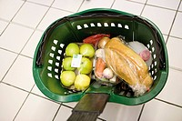 Shopping basket containing groceries