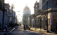 View along street towards Parque Jose Marti, Cienfuegos, Cuba, West Indies, Central America