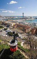 Cable car across to the port, Transbordador Aeri del Port, with view across the harbour from Montjuic, Barcelona, Catalonia, Spain, Europe