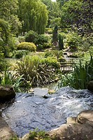 Pond and waterfall in Queen Marys Gardens, Regents Park, London, England, United Kingdom, Europe