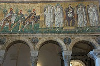 Mosaic depicting the Three Kings bringing gifts to the Holy Child, 6th century basilica di Sant´Apollinare Nuovo, UNESCO World Heritage Site, Ravenna,...