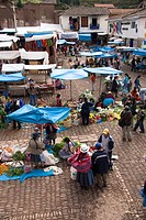 Market in the village of Pisac, The Sacred Valley, Peru, South America