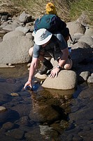 Adult male hiker refilling water bottle in a stream in the Cathedral Peak Section of the Drakensberg Ukhahlamba National Park, KwaZulu_Natal Province,...