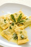 Home_made spinach ravioli in sage butter