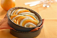 Pumpkin and chicory tart in baking tin