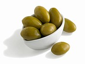 Bowl of Cerignola Green Olives, White Background