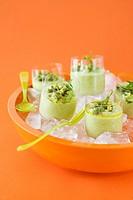 Cold avocado cream in glasses