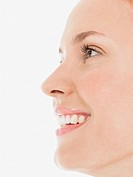 Young Woman Smiling close up side view