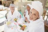 Women having lunch at spa