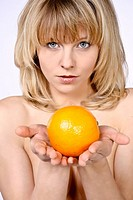 woman with orange
