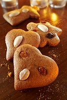 Christmas gingerbread biscuits with almonds and raisins Lebkuchen