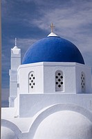 White domed chapel, Pyrgos village, Santorini, Greece