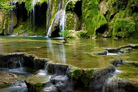 Cascade des Planches, France, Jura, waterfall, rock, cliff, tuff stone, limestone, lime depositions, moss, sinter, terrace, tufa,