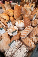 England, London, Southwark, Borough Market, Bakery, Bread Display
