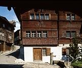 Switzerland, houses, homes, architecture, lane, near castle, Werdenberg, canton St. Gallen, facade, wood, typically