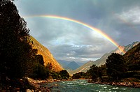 Rainbow over majestic mountain and river, Danba County, Garz¨º Tibetan Autonomous Prefecture, Szechwan Province, China