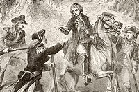Major John Andre is captured by John Paulding, David Williams, and Isaac Van Wart during the American Revolutionary War  From a 19th century illustrat...