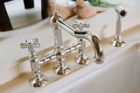 Detail chrome kitchen faucet