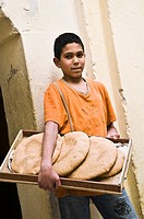 The Pita bread delivery boy in Fes, Moroccco
