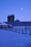 Dairy farm in a snow covered landscape, Pocono Mountains, Pennsylvania, USA