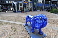 Lion in front of the BayernLB Bavarian State Bank building, Munich, Bavaria, Germany, Europe